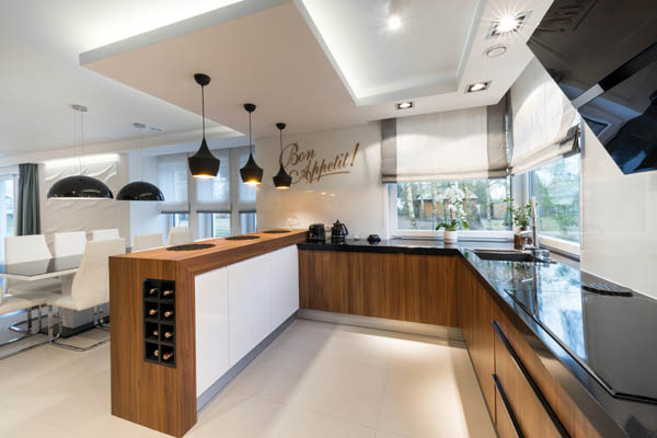 This picture shows very stylish concrete countertops San Diego. Beautiful contrast of gray, white, and brown.