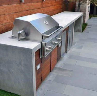 This picture shows San Diego concrete coumtertops for a bbq and outdoor kitchen.